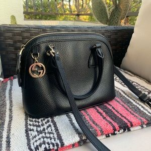 Gucci dome black leather bag